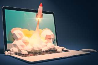 Startup concept with rocket flying out of laptop screen on dark blue background. Sideview, 3D Rendering
