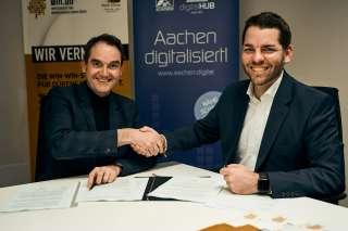 Dr. Oliver Grün, Vorstandsvorsitzender digitalHUB Aachen und Thomas Hissel, 1. Beigeordenter der Stadt Düren und Hauptgeschäftsführer der Wirtschaftsförderungsgesellschaft WIN.DN