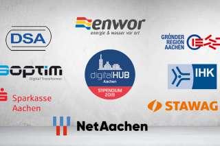 Logos HUBStipendium digitalHUB Stipendium, DSA Daten- und Systemtechnik GmbH enwor – energie & wasser vor Ort GmbH GründerRegion Aachen IHK Aachen NetAachen GmbH SOPTIM GmbH Sparkasse Aachen Stawag, Stadtwerke Aachen AG